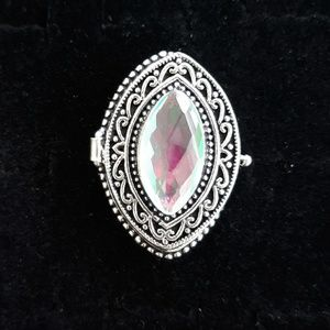 New Mystic Topaz Poison Silver Ring. Size 7.75